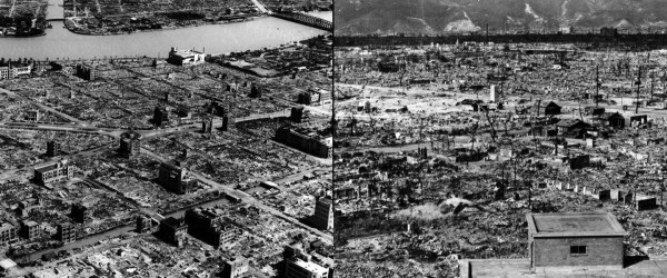 The ruins of 1945: Tokyo, left, and Hiroshima, right.