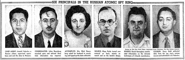 """Six Principals in the Russian Atomic Spy Ring,"" New York Times, April 1, 1951."