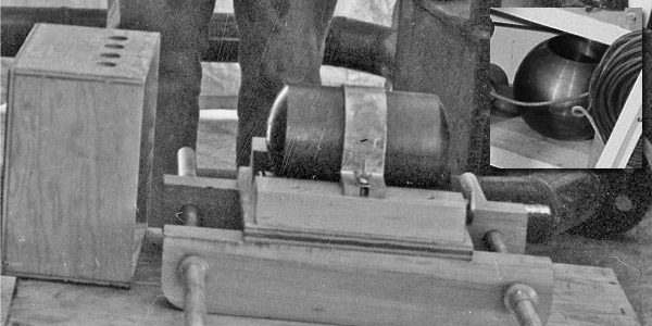 Detail from the above photo showing the tamper plug cylinder. Inset is a rare glimpse of what the tamper probably looked like, taken from a different Los Alamos photo related to Slotin's criticality accident. (It is in the middle-right of the linked photo. Yes, I cop to spending time searching the edges of photos like this for interesting things...) You can see how the tamper plug, rotated, would be inserted into the middle of the tamper sphere.