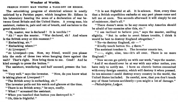 """Now I am become Edison, Wrecker of Worlds"": fictional account of Edison destroying England using ""button no. 4,"" 1896. Source: The Electrical Trade, August 1, 1896."
