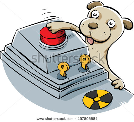 """A sneaky cartoon puppy pushes the button the launch the nuclear missiles."" Obviously wrong — puppies would never launch nuclear war. But cats probably would. Source: Shutterstock."
