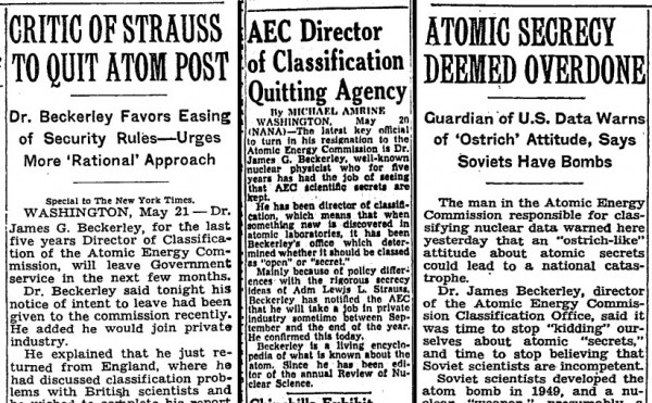 Headlines from 1954 regarding Beckerley and his split with the Atomic Energy Commission — and his turn as a secrecy critic.