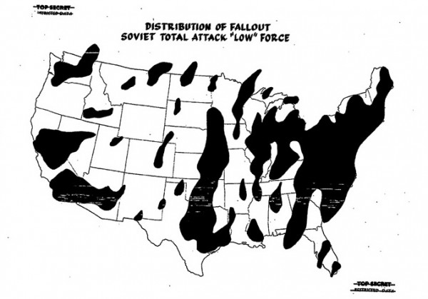 """Distribution of Fallout — Soviet Total Attack 'Low' Force,"" form the Net Evaluation Subcommittee Report, 1961. Source: National Security Archive Electronic Briefing Book No. 480"
