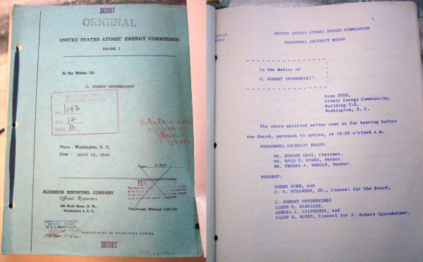 "The cover and first page of the original Oppenheimer hearing transcript. In the left photo, I am holding back a ""Top Secret/Restricted Data"" cover sheet. I have cropped out my declassification slug. The color photos of the transcripts are from a 2011 follow-up trip to NARA I made; the original photos I took in 2009 were grayscale (as is my usual archival practice), which is why I am illustrating this post with the 2011 photographs."