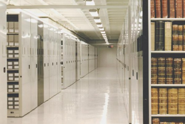 The inner storage carousels at the National Archives II facility, where most of the US federal records are kept. These stacks are off-limit to researchers. Image source.