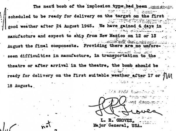 1945-08-10 - Groves memo on next bombs