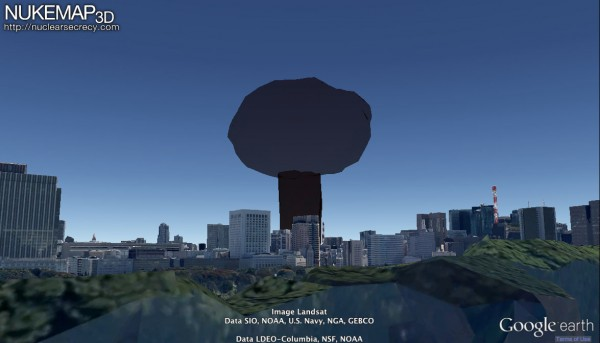 The maximum size of a 20 kiloton mushroom cloud in Tokyo Bay, as viewed from the roof of the Imperial Palace today, as visualized by NUKEMAP3D. Firebombed Tokyo of 1945 would have afforded a less skyscraper-cluttered view, obviously.