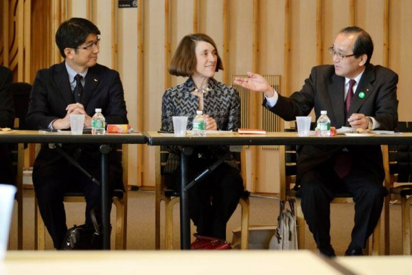 Nagasaki Mayor Tomihisa Taue, Atomic Heritage Foundation President Cynthia Kelly and Hiroshima Mayor Kazumi Matsui at the meeting in New York, just across from the United Nations building. I was sitting a little out of frame, near Mayor Matsui. Source: Japan Times.