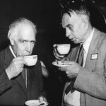 """Bohr and General Groves' personal technical advisor, Richard Tolman, attending the opening of the Bicentennial Conference on """"The Future of Nuclear Science,"""" circa 1947. Source: Emilio Segrè Visual Archives, Niels Bohr Library, American Institute of Physics."""