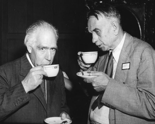 "Bohr and General Groves' personal technical advisor, Richard Tolman, attending the opening of the Bicentennial Conference on ""The Future of Nuclear Science,"" circa 1947. Source: Emilio Segrè Visual Archives, Niels Bohr Library, American Institute of Physics."