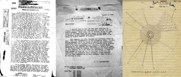 """A small sampling of the sort of """"inscriptions"""" I deal with regularly, the raw stuff of conjuring up the past: a typewritten report later turned into a microfilm entry (later scanned into a PDF file); a typewritten copy of a memo I got from an archive (later photographed by me and turned into a PDF); a hand-drawn diagram (evidence from the Rosenberg trial) that was later deposited into an archive (and later scanned as a TIF file)."""