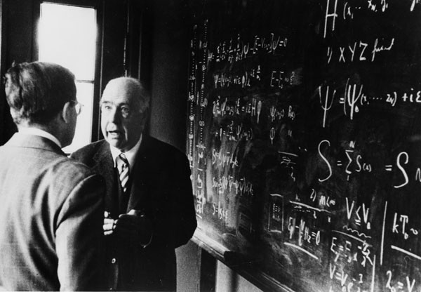 Niels Bohr (r) conversing animatedly with his son Aage in front of a board full of equations. Source: Emilio Segrè Visual Archives, Niels Bohr Library, American Institute of Physics.