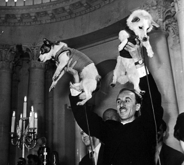 "Oleg Gazenko, chief of the dog medical program, with Belka (right) and Strelka (left) at a press conference in 1960. Gazenko called this ""the proudest moment of his life."""