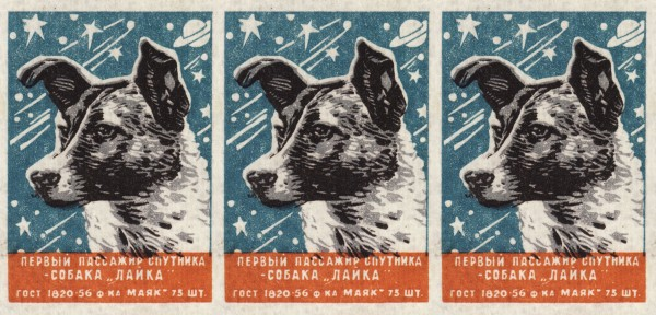 "A Soviet matchbox with a heroic Laika, the first dog in space. Caption: ""First satellite passenger — the dog, Laika."" Want it on a shirt, or a really wonderful mug?"