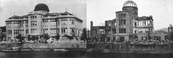 "The ""Atomic Bomb Dome,"" before and after the bombing of Hiroshima. I find this particular picture very striking, because without the ""before,"" the extent of the ""after"" is hard to make sense of. More of these on-the-ground before-and-after photos here, along with the source."