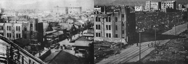 "I find this one to be one of the most haunting — by filling in the missing structures, it contextualizes all of the ""standard"" Hiroshima photos of the rubble-filled wasteland. ""Rear view of Geibi and Sumitomo Buildings before and after bombing. Taken from Fukuya Department Store (700 meters [from Ground Zero]) looking toward center. Complete destruction of wooden buildings by blast and fire. Concrete structures stand."" In other places in the text, they usually point out that where you see a concrete structure like this, it has withstood the blast but was gutted by the fire."