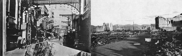 """Komiya street (750 meters [from Ground Zero] before and after bombing. The archlike heavy lamp posts have fallen. One lies at the left of the lower photograph."""