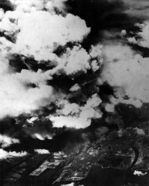 Unusual photograph of the late cloud of Hiroshima, as seen from the air. This was probably taken by aircraft that arrived several hours after the bombing to do damage reconnaissance; they reported the target was obscured by huge amounts of smoke. Source: National Archives and Records Administration, via Fold3.com.