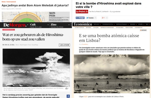 A small sampling of some of the international press coverage of the NUKEMAP around the Hiroshima anniversary.