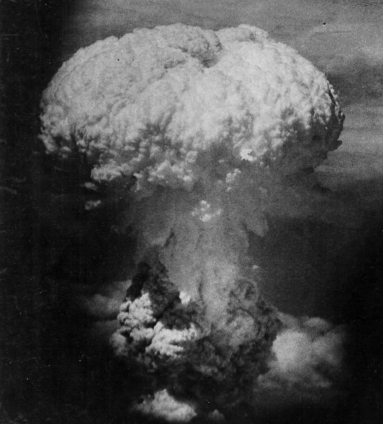 The head of the Nagasaki mushroom cloud — like a monstrous brain.