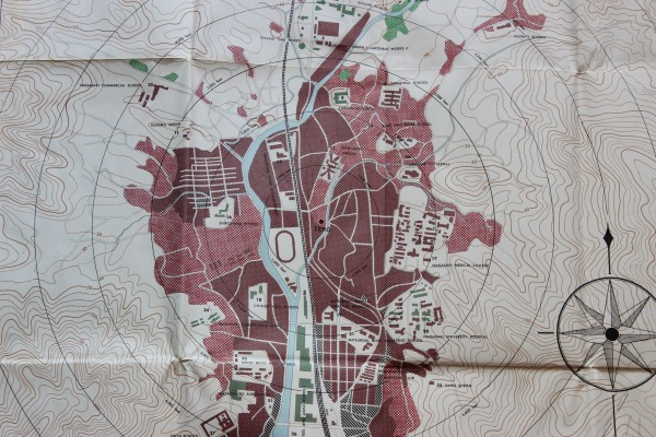 "Detail from a damage map of Nagasaki, produced by the United States Strategic Bombing Survey, 1946. I have the original of this in my possession. I find this particular piece of the map quite valuable to examine up close — one gets a sense of the nature of the area around ""Ground Zero"" very acutely when examining it. There were war plants to the north and south of the detonation point, but mostly the labeled structures are explicitly, painfully civilian (schools, hospitals, prisons). Click to enlarge."