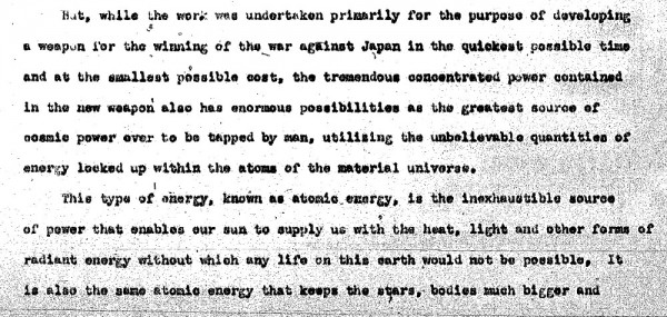 Part of Laurence's 17-page draft Presidential statement — that was never used. View the whole document here.