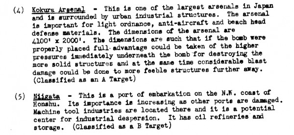 The relative merits of Kokura and Niigata in the notes of the second meeting of the Target Committee, May 1945. Kokura was an exciting target. Niigata, not so much.