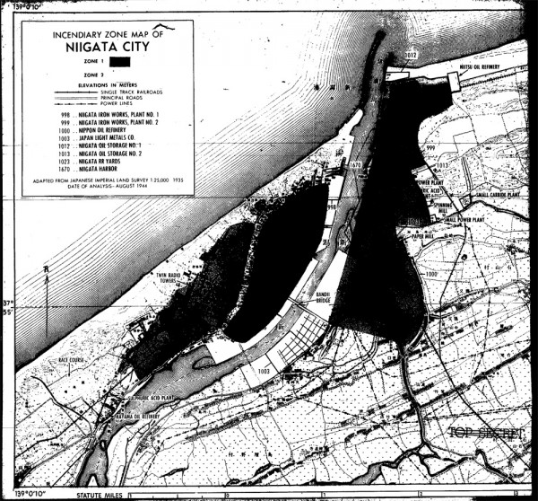 Target map of Niigata, from General Groves' files, summer of 1945.