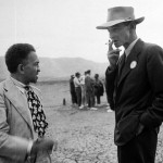 "William Laurence (left) and J. Robert Oppenheimer at the Trinity Site in September 1945, as part of a ""press safari"" to the ruins of the first atomic test. I find the contrasts in their physiognomical contrast fascinating. Source: Google LIFE images."