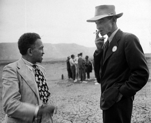 William Laurence (left) and J. Robert Oppenheimer at the Trinity Site in September 1945, as part of a