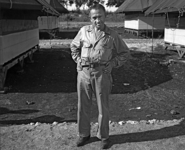 William Laurence on the island of Tinian, in the Pacific Ocean, reporting on the bombing of Nagasaki. Source: Los Alamos National Laboratory, image TR-624.