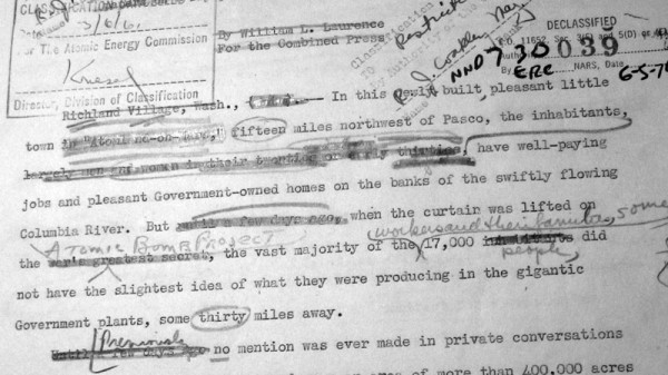 A draft of a story about Hanford that Laurence wrote. Among the many edits were getting rid of the phrase