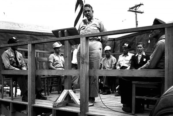 General Leslie Groves speaking to workers at Hanford in 1944. Source: Emilio Segrè Visual Archives.