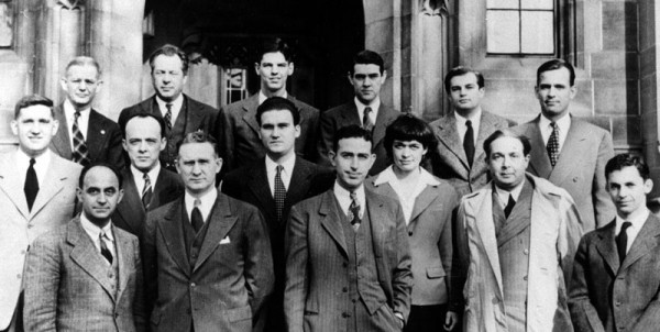 Alumni of the creation of the first nuclear reactor, CP-1, at the University of Chicago's Metallurgical Laboratory. Leona Woods Marshall is conspicuously outside the norm, but there nonetheless. Source: Emilio Segrè Visual Archive.