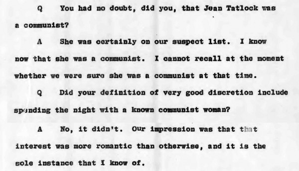 1954 JRO hearing - Lansdale on Tatlock