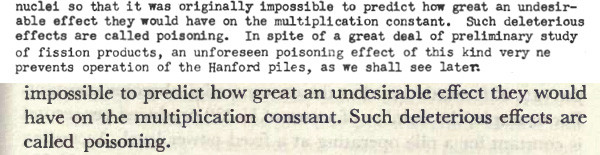 """Now you see it, now you don't... comparing the sections on """"pile poisoning"""" in the original lithograph edition of the Smyth Report (top) and the later version published by Princeton University Press (bottom) reveals the omission of a crucial sentence that indicates that this problem was not merely a theoretical one."""