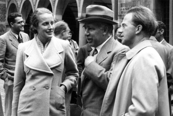 Werner Heisenberg (at right) with Niels Bohr (center) and Elisabeth Heisenberg (left), 1937. (Victor Weisskopf makes a cameo appearance on the left, in the back.) Source: Emilio Segrè Visual Archive, American Institute of Physics.