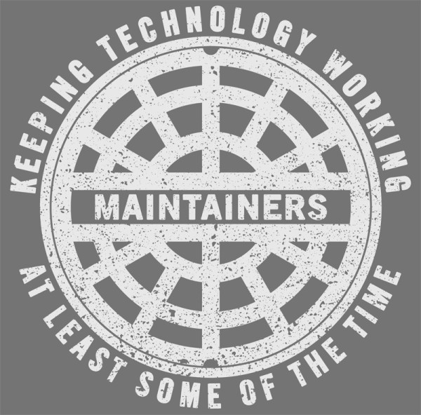 "The ""logo"" of the Maintainers conference, which graces its T-shirts (!) and promotional material. I modeled the manhole design off of an actual manhole cover here in Hoboken (photograph taken by me)."