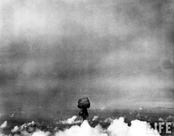 Photograph of the early mushroom cloud by LIFE photographer Frank Scherschel, with a darkened filter to compensate for the brightness of the flash. Source.