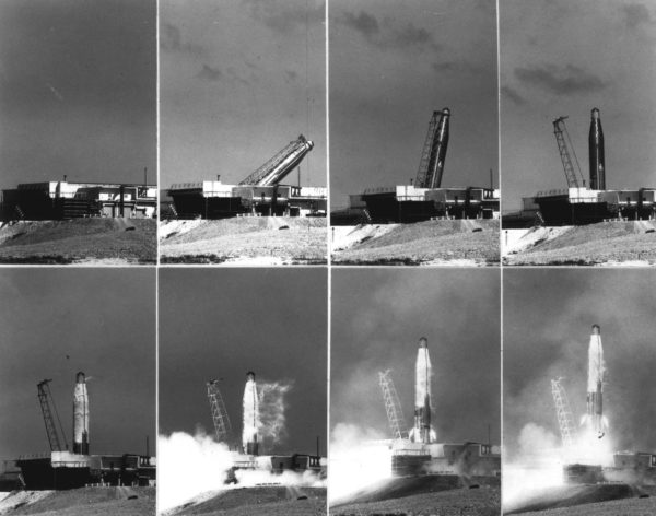 Launch sequence of an Atlas-D ICBM, 1960. Source.