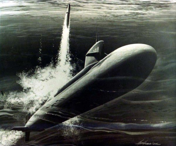 Artist's conception of a Polaris missile launch. Source.