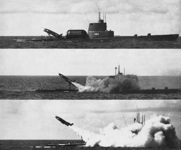 The USS Tunny launches a cruise missile (Regulus) circa 1956. Source.
