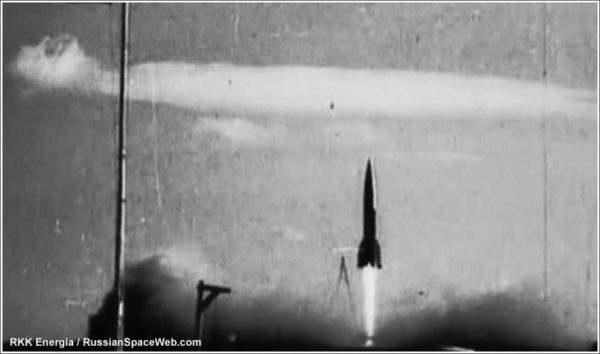 Soviet testing of an R-1 (V-2 derivative) rocket at Kapustin Yar. Soviet rocket tests were detected by American radars — and spurred US interest in rockets. Source.
