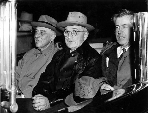 Roosevelt, Truman, and FDR's previous VP, Henry Wallace. Truman is the only one here who doesn't know about the bomb program. Image source: Truman Library via Wikimedia Commons