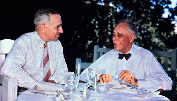 A little history trick I always tell my students: if you see Truman and FDR in the same photograph, that means Truman doesn't know about the atomic bomb. Photo source: History.com