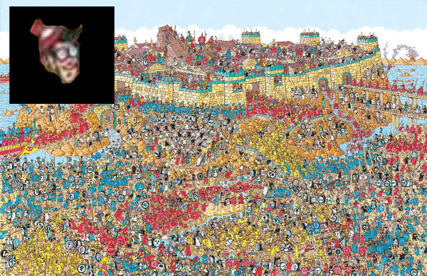 "I found Waldo on the map of Troy. How can I prove it without giving his location away? A digital version of the described ""proof"": I found his little head and cut it out with Photoshop. But how do you know that's his head from this image? (Waldo from Where's Waldo)"