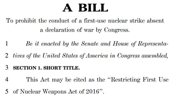 The Lieu-Markey bill for limiting presidential power regarding nuclear weapon use.