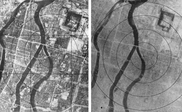 "The original ""NUKEMAP"" — Hiroshima, before and after, from the view of a nuclear bombardier."