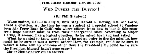"""Who pushes the button?"" An article from Parade attached to Congressional hearings on Presidential authority and First Use from 1976."