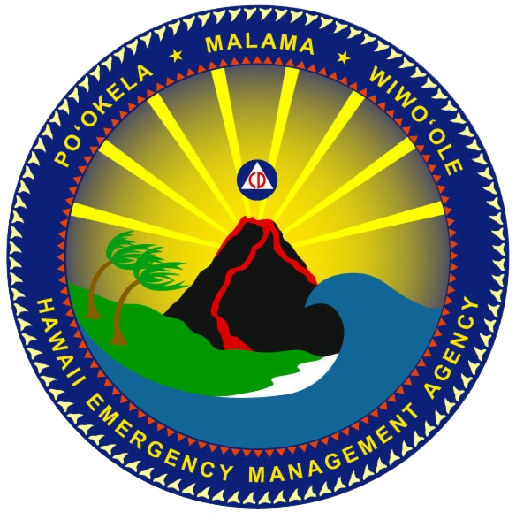 The HI-EMA official emblem: a Civil Defense (CD) logo rising out of an erupting volcano, while a massive wave menaces from the right, and wind blows trees on the left, the entire thing ringed in shark teeth. Seriously.